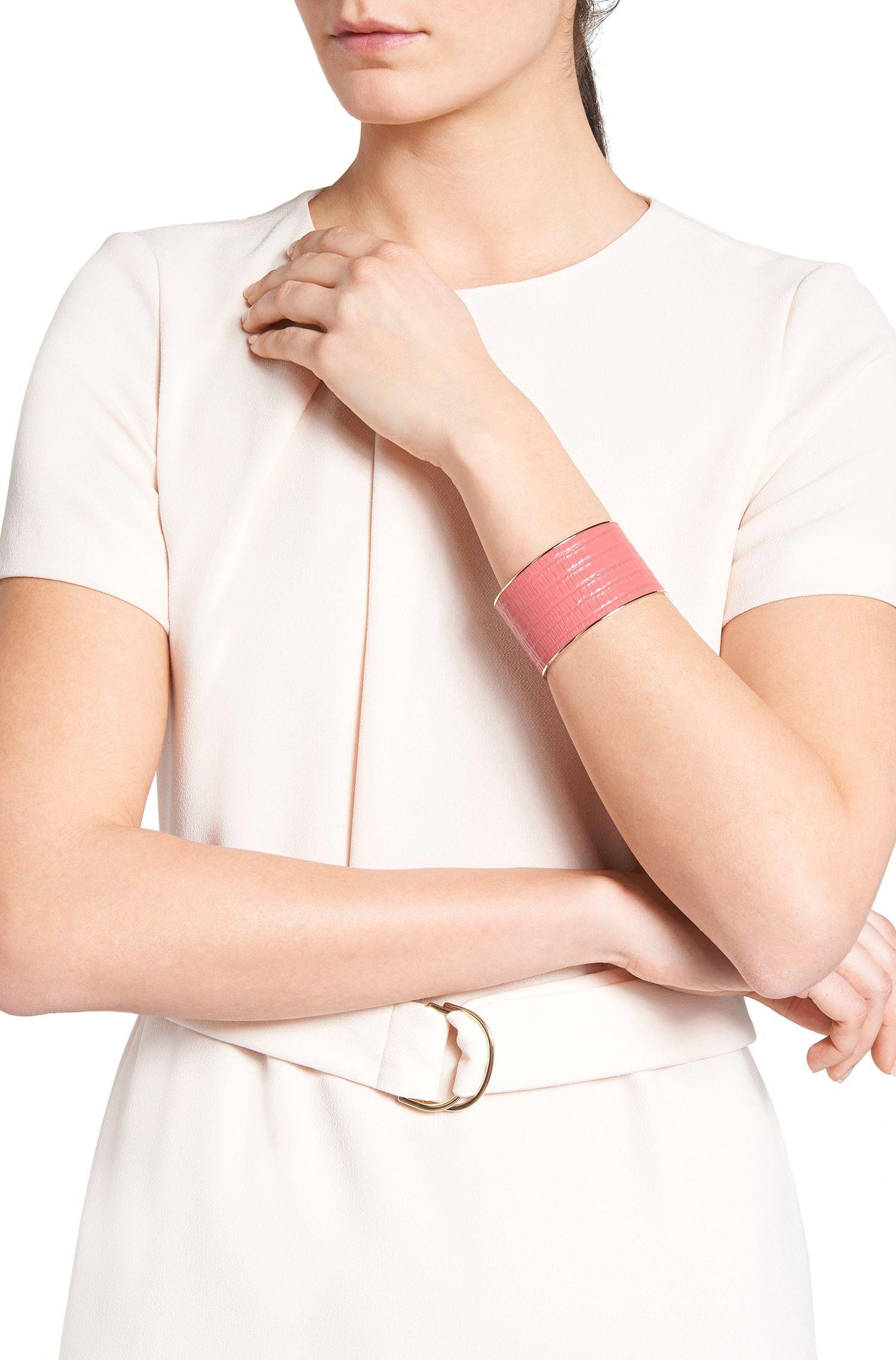 Armband aus Messing mit Lederbesatz: 'Tailor Bracelet-L'