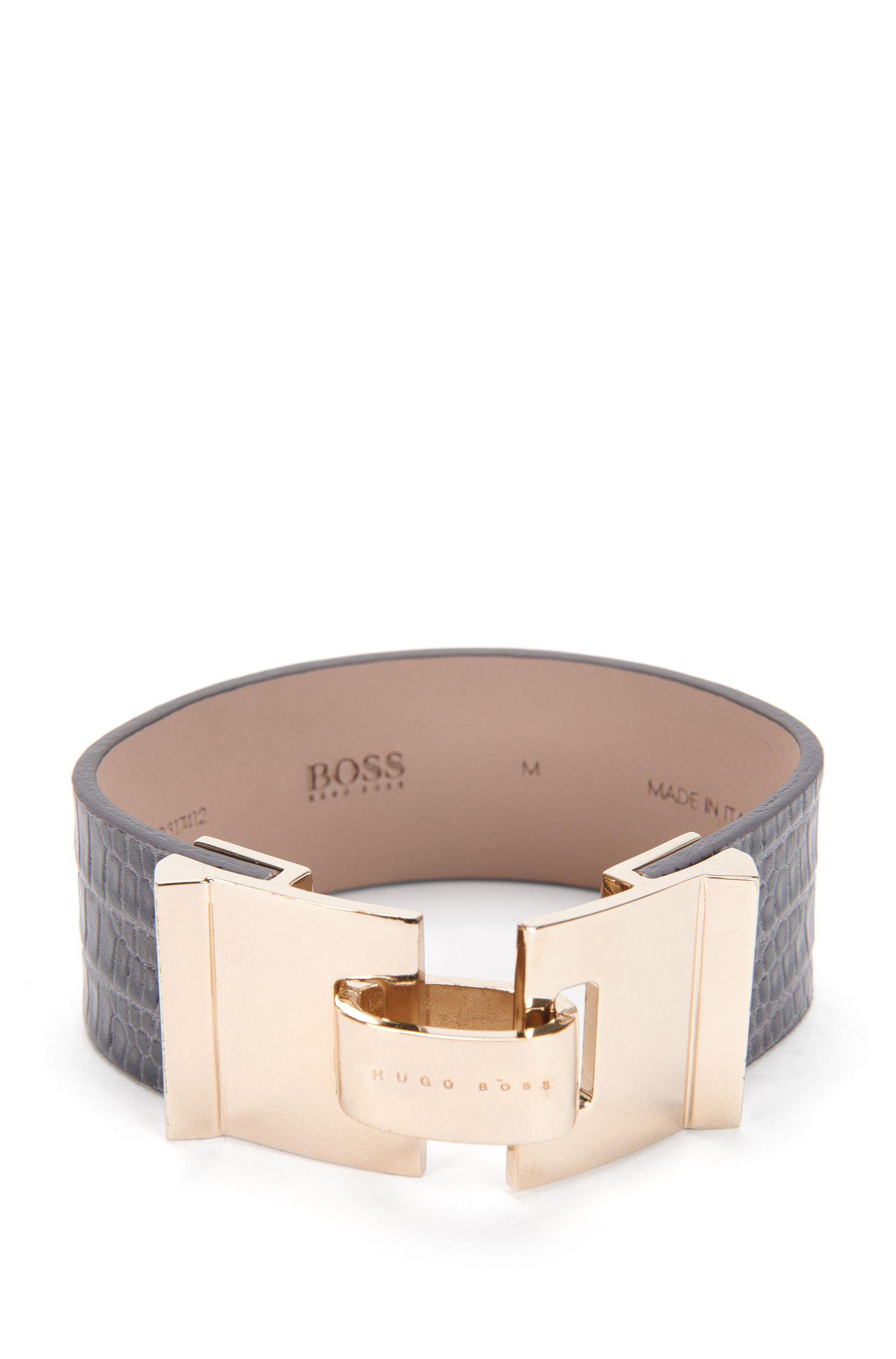 Armband van gestructureerd leer: 'Grace Bracelet-L'