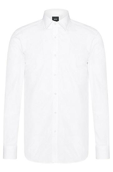 Slim-Fit Tailored Hemd aus reiner Baumwolle: 'T-Shane', Weiß