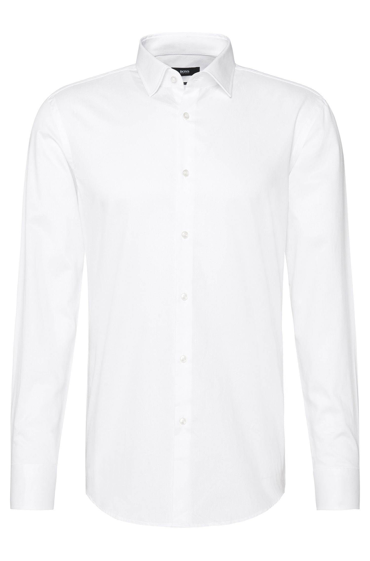 Slightly textured slim-fit shirt in cotton: 'Jenno'