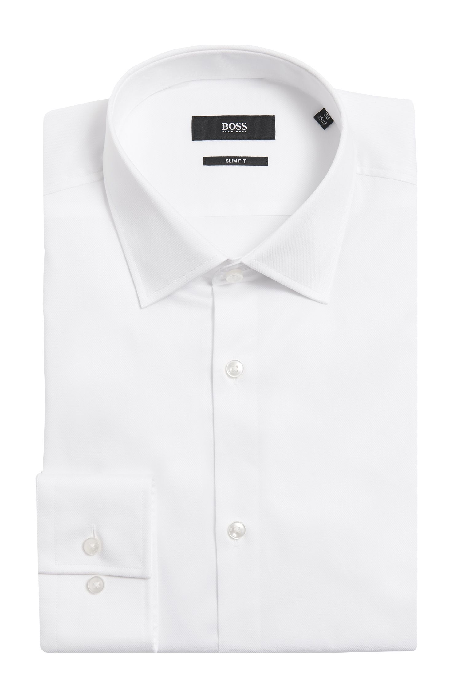 Iets gestructureerd slim-fit overhemd van katoen: 'Jenno'