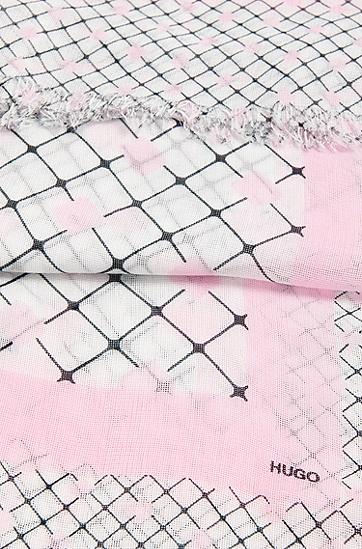 Quadratisches Tuch mit stoffeigenen Fransen: 'Women-Z 515', Natur