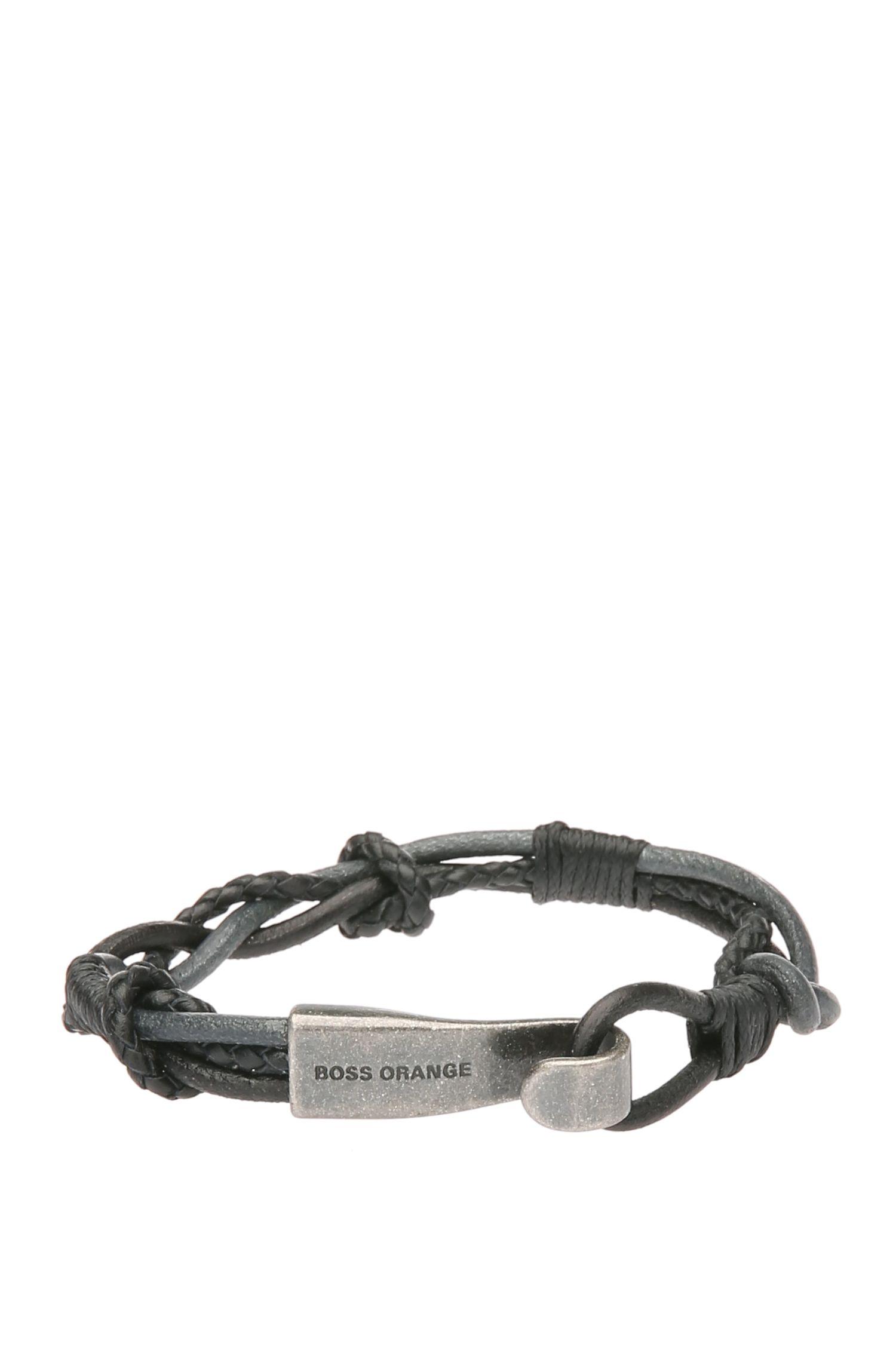 Bracelet en cuir tressé avec fermeture en métal: «Medwin»