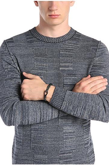 Geflochtenes Armband aus Leder mit Metallverschluss: ´Medwin`, Schwarz