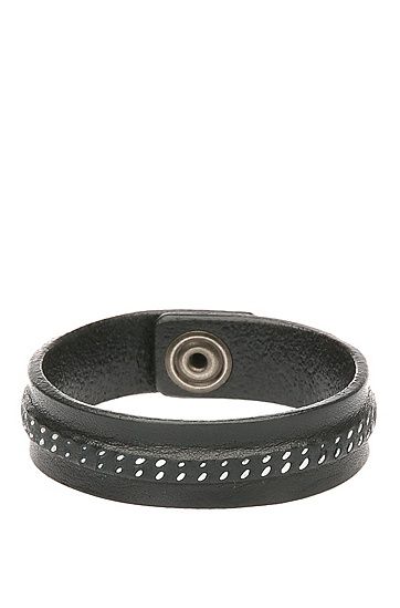 Armband aus Leder mit Ziernaht: ´Mavis`, Schwarz