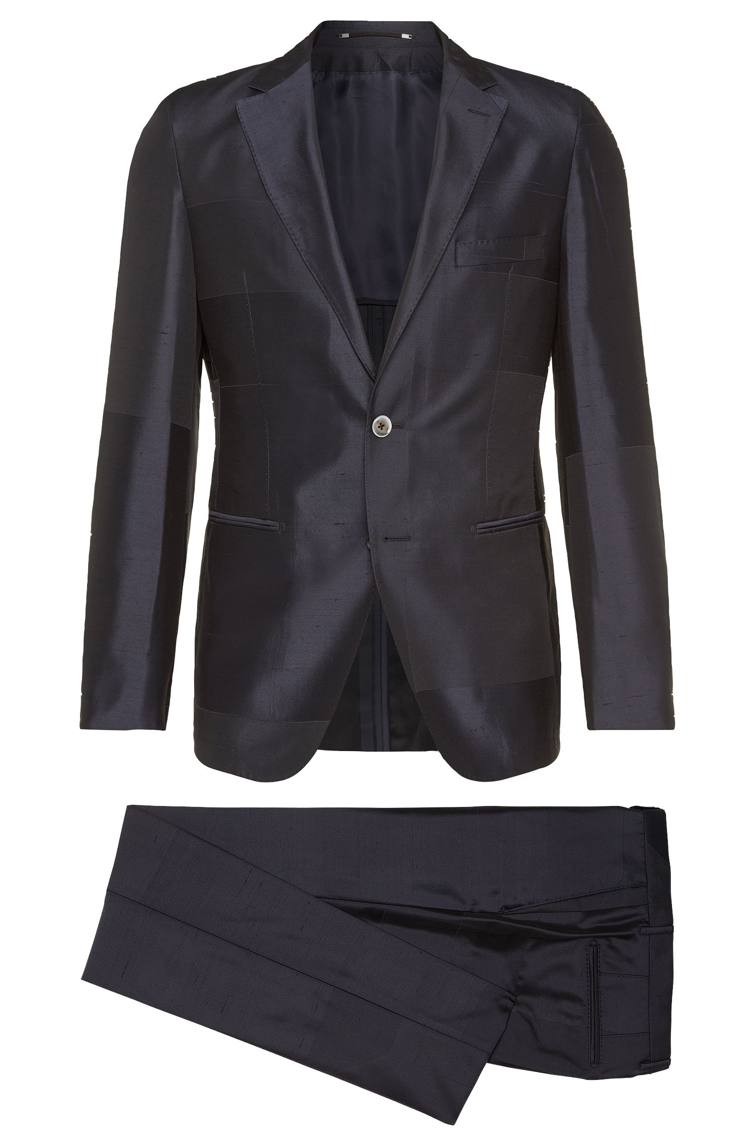 Slim-fit Tailored suit in fabric blend with silk: 'T-Neal-Basil'