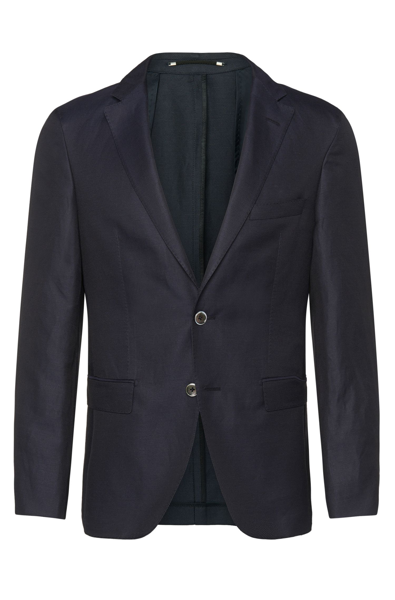 Slim-fit Tailored jacket in cotton blend with silk: 'T-Norham'