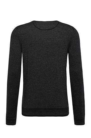 Gestreifter Slim-Fit Pullover aus Baumwoll-Mix: ´Kerpen`, Schwarz