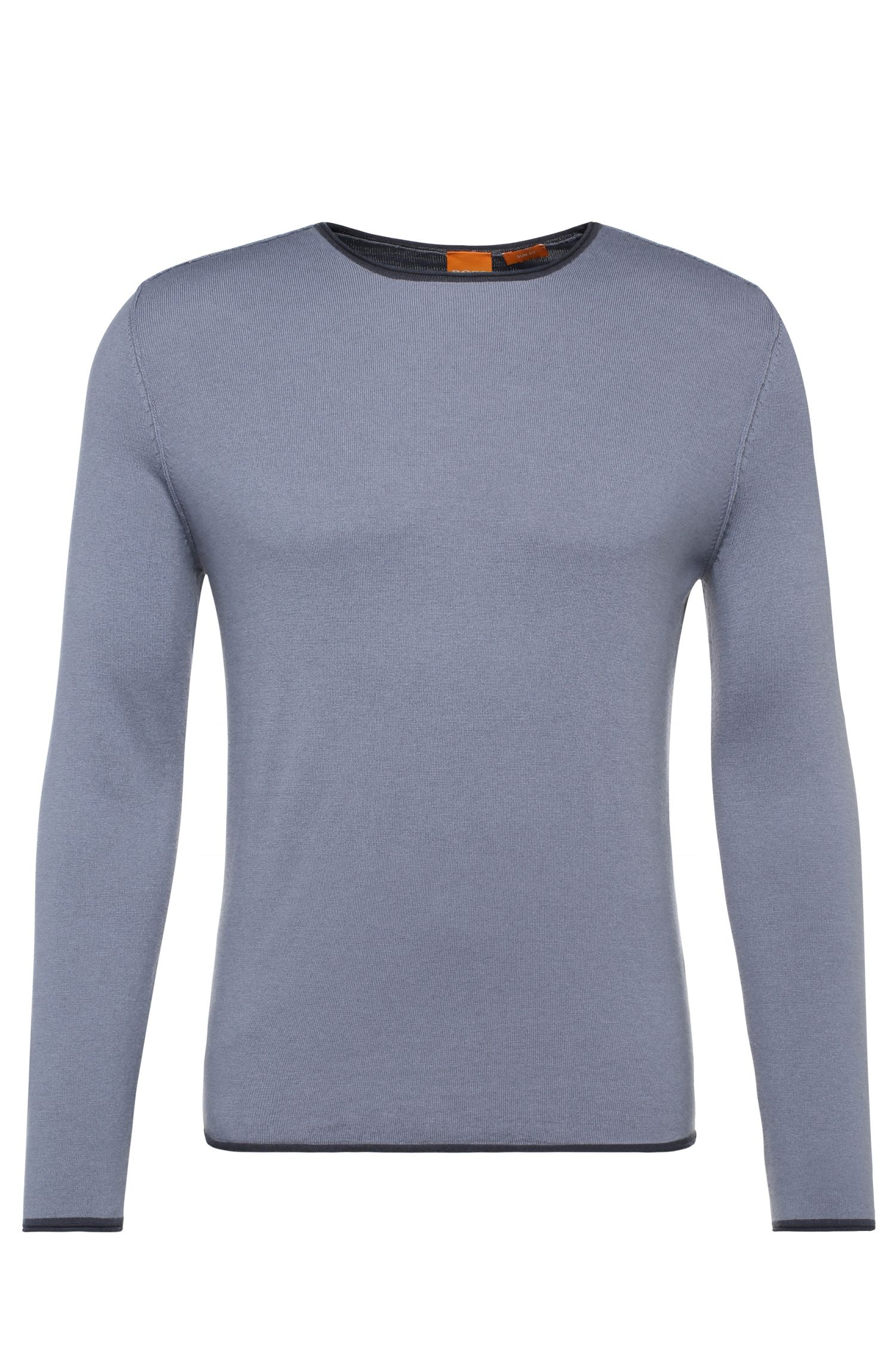Knitted sweater in cotton blend with new wool: 'Kamero'