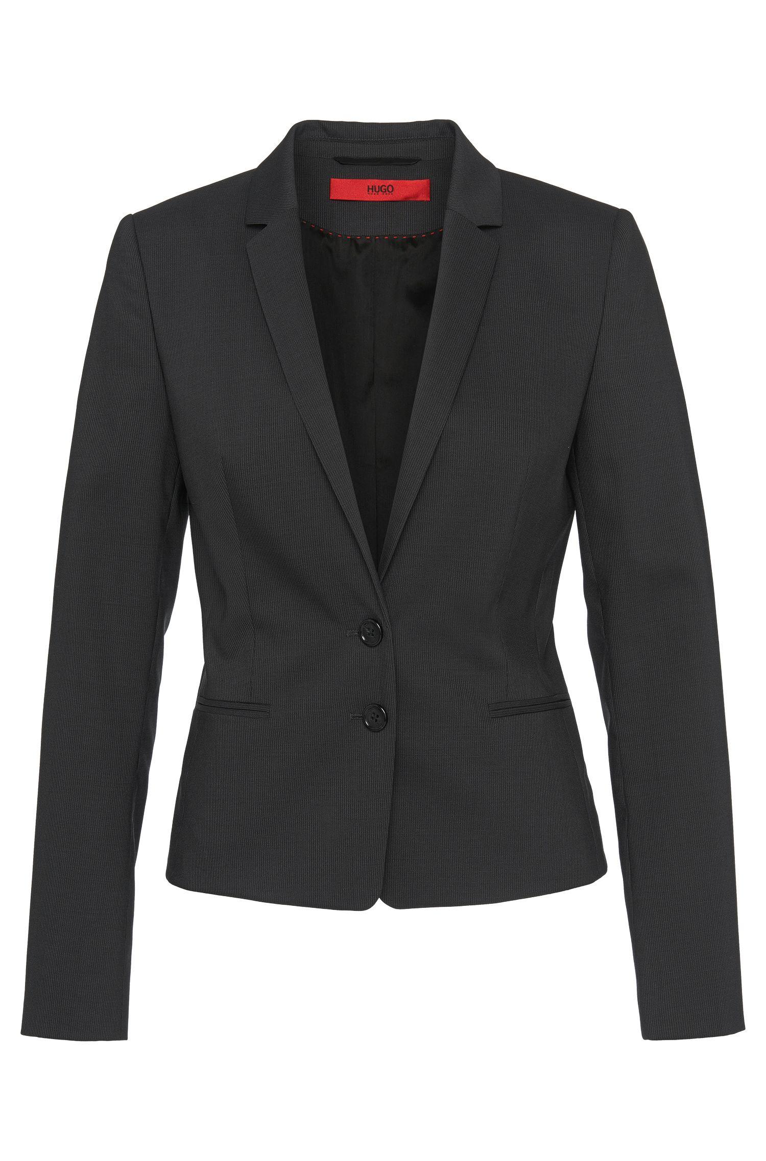 Slim-fit blazer van scheerwol met stretch: 'Atisa'
