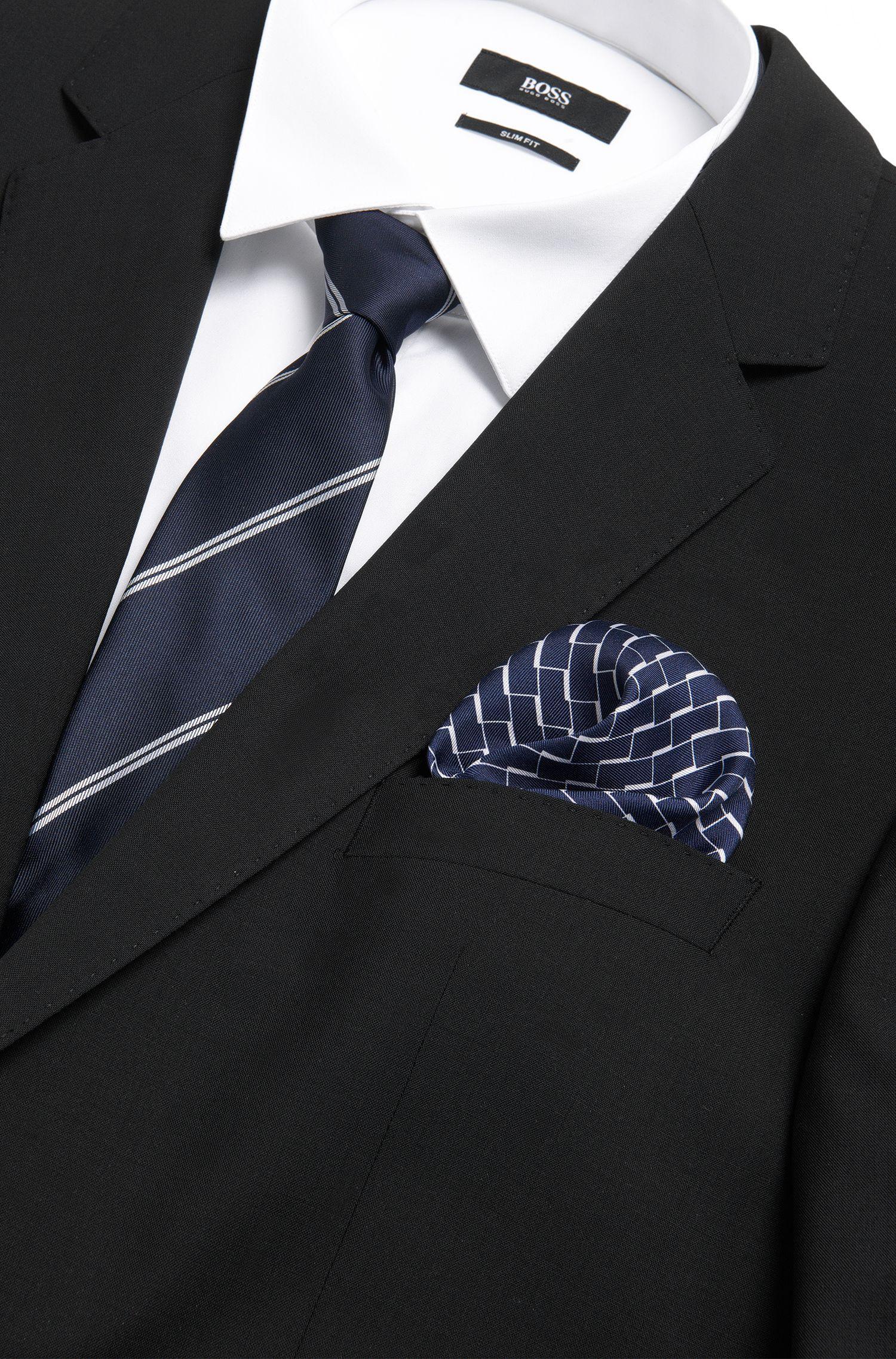 Gemustertes Einstecktuch aus reiner Seide: 'Pocket sq. cm 33x33'