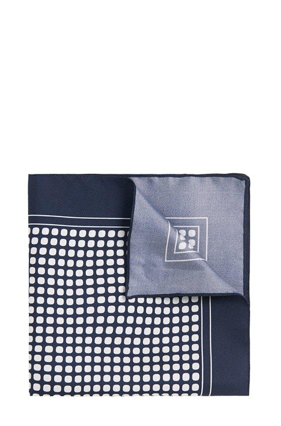 Pochet van zuivere zijde met dessin: 'Pocket sq. cm 33x33', 402_Dark Blue