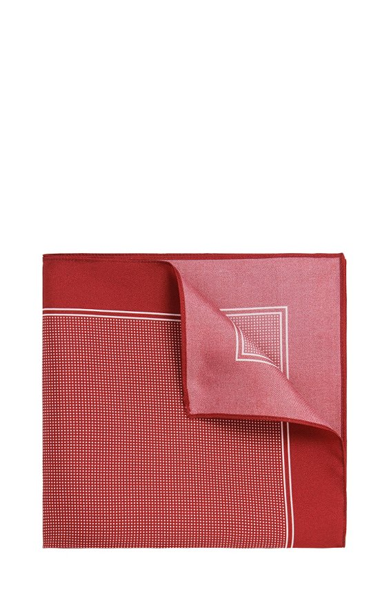 Pochette en pure soie à motif : « Pocket sq. cm 33x33 », 626_Red