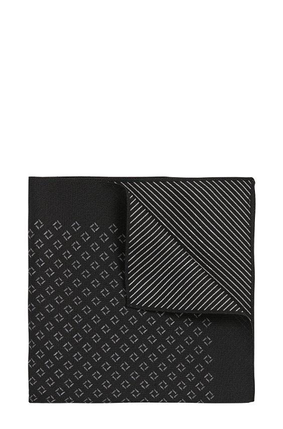 Pochet van zuivere zijde met dessin: 'Pocket sq. cm 33x33', 001_Black
