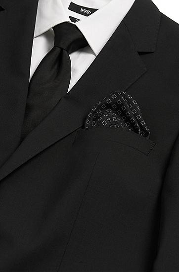 Gemustertes Einstecktuch aus reiner Seide: 'Pocket sq. cm 33x33', Schwarz