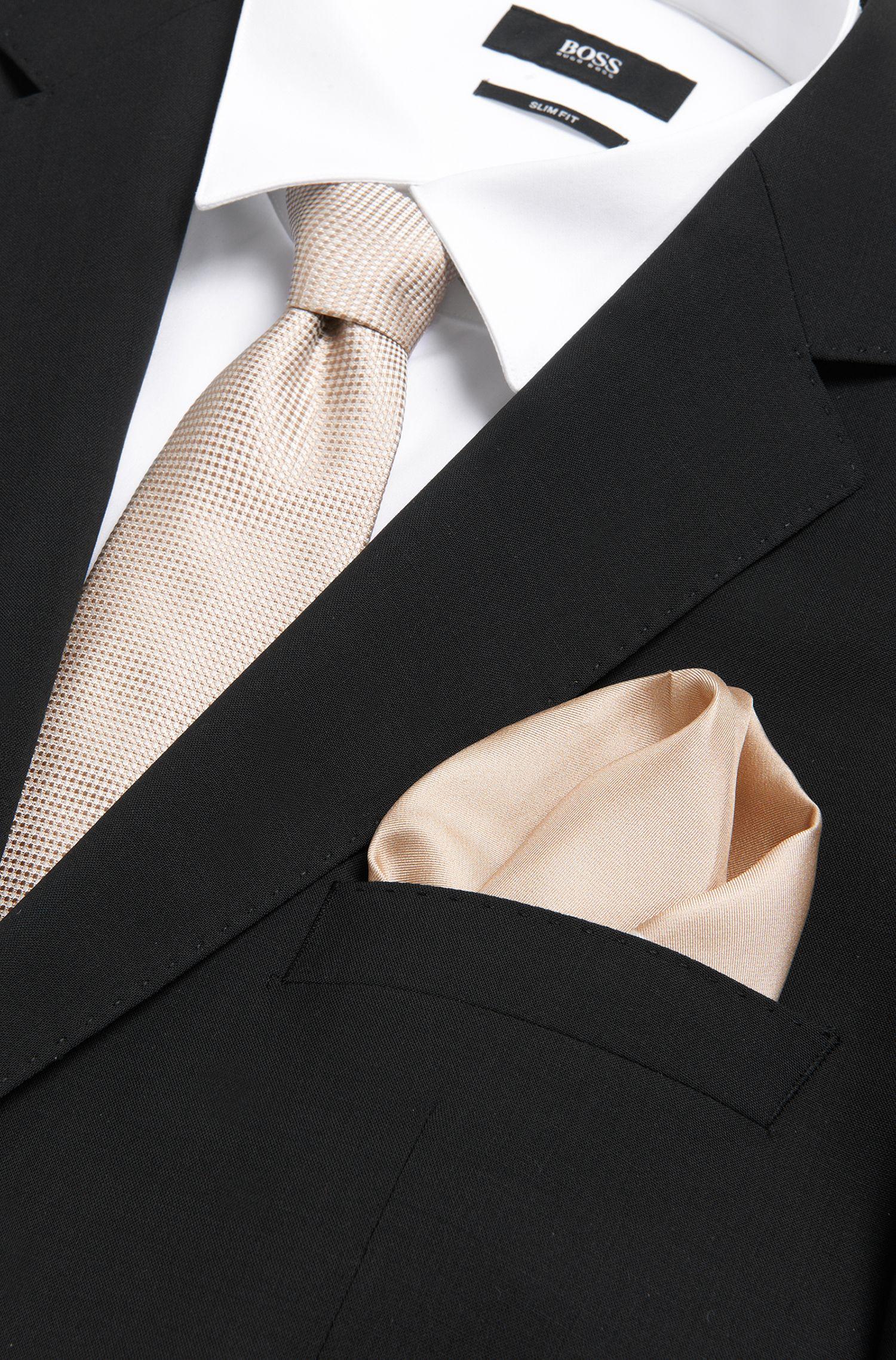 Pochette en pure soie à motif raffiné: «Pocket sq. cm33x33»