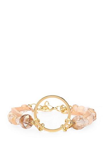 Zweireihiges Armband aus Leder und Glasperlen: ´Maris`, Hellrosa