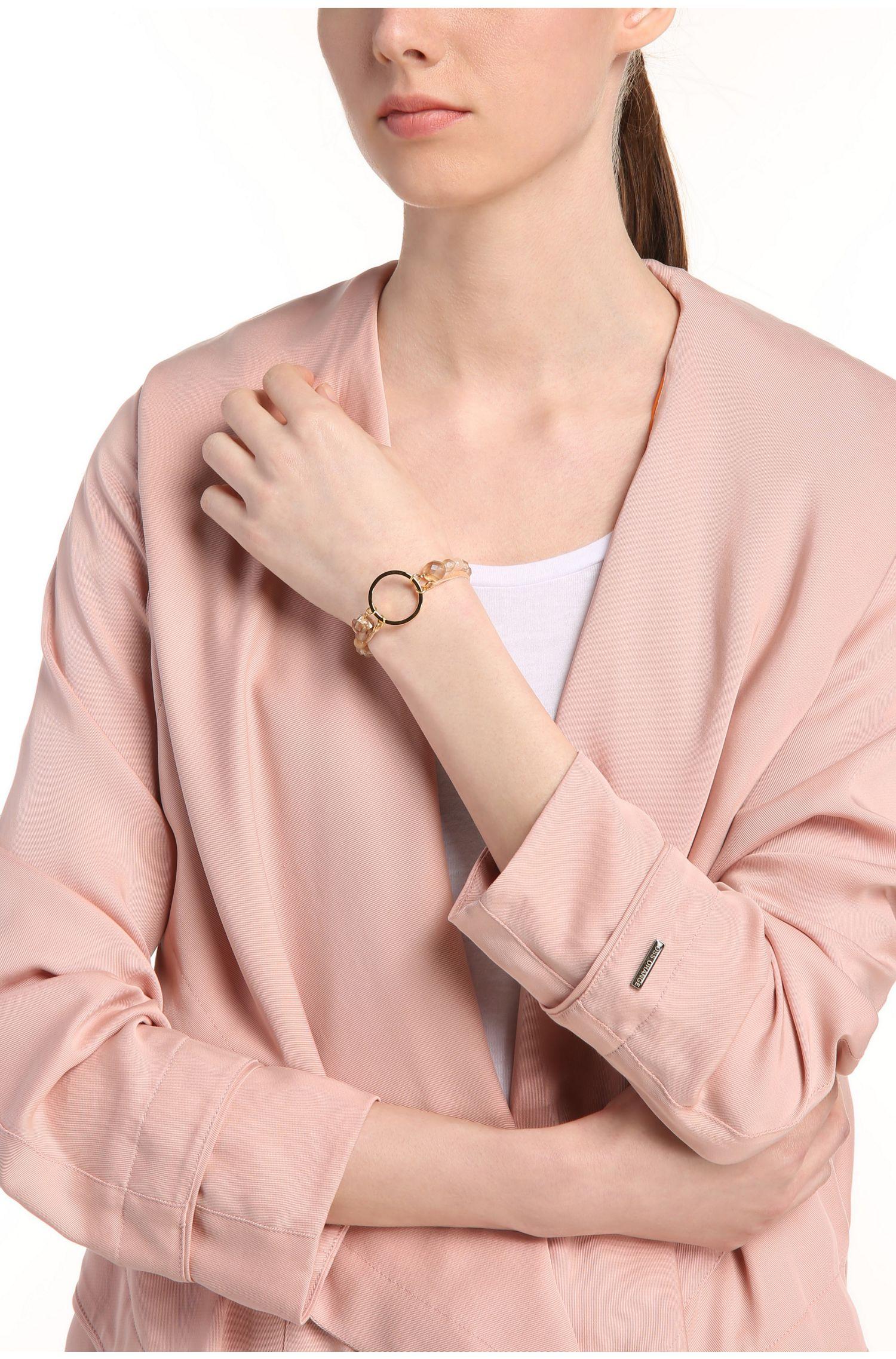 Zweireihiges Armband aus Leder und Glasperlen: ´Maris`