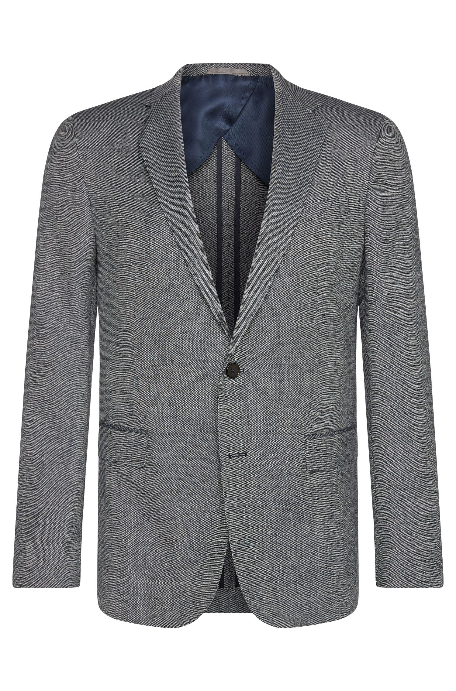 Slim-fit jacket in new wool blend with partial lining: 'Nobis1'