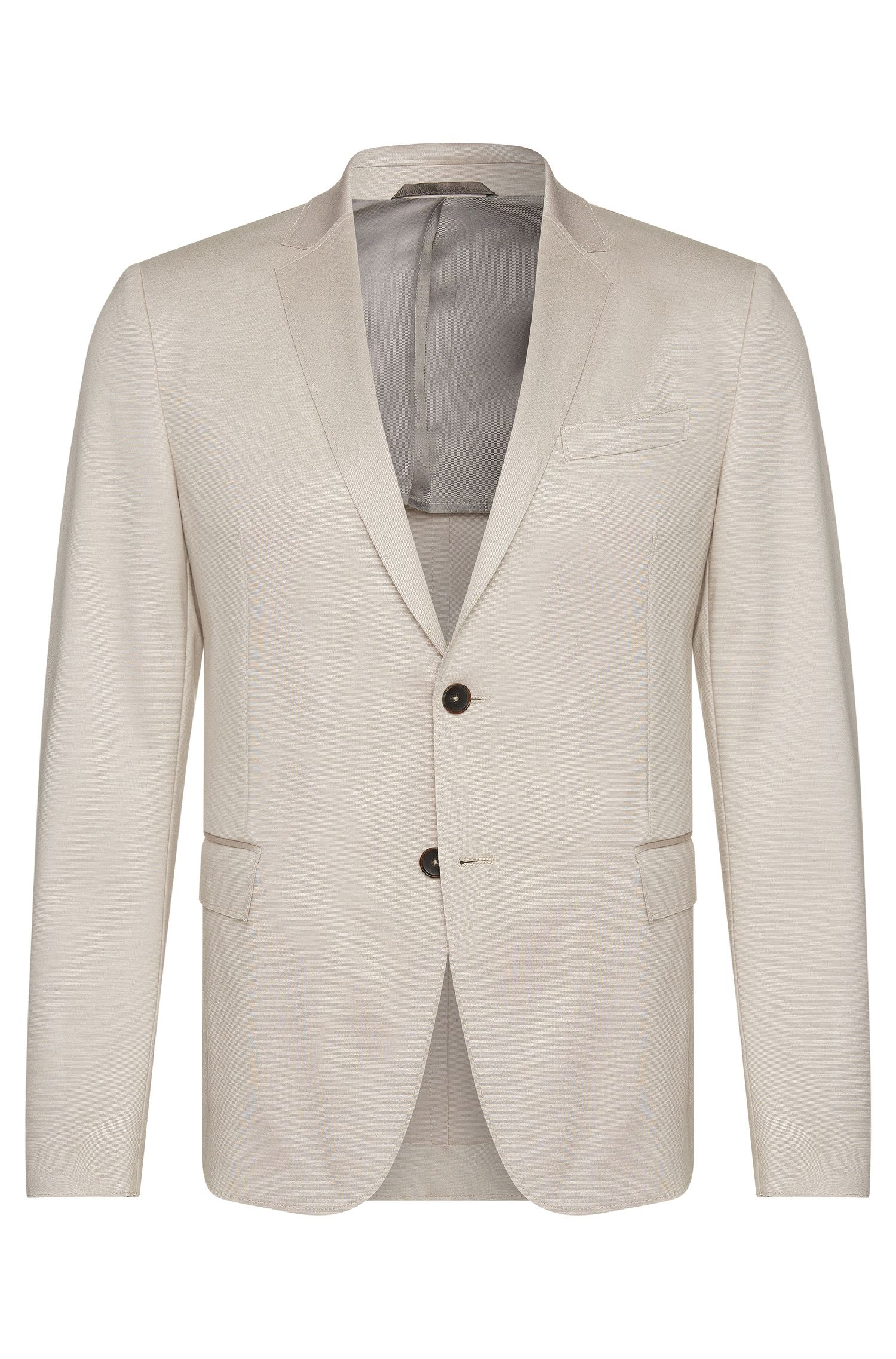 Slim-fit jacket in stretchy viscose blend with half lining: 'Nevio'
