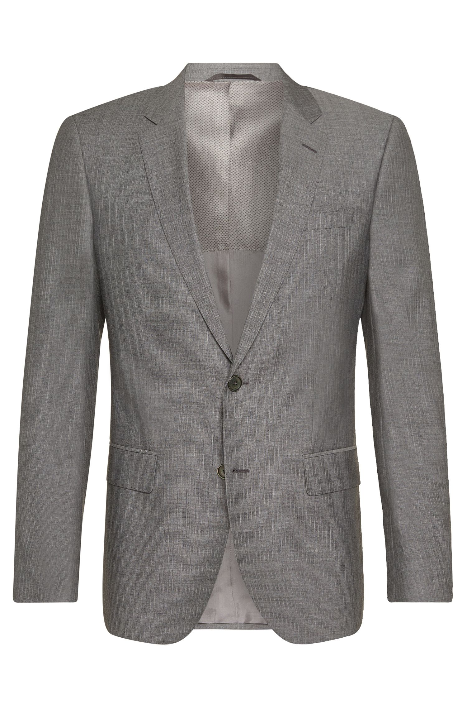 Slim-fit suit in viscose blend with mohair, new wool and silk: 'Hutson3/Gander1'