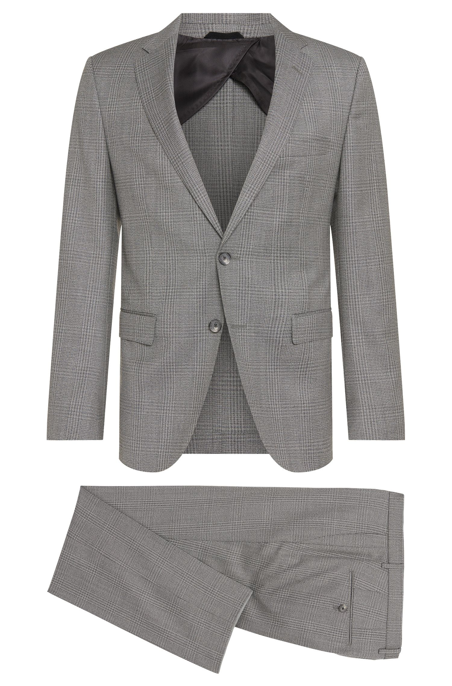 Checked slim-fit suit in pure new wool: 'Nortan/Benno'