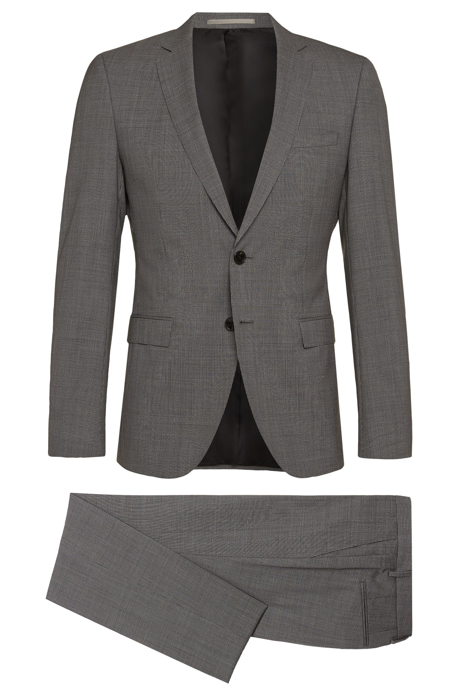 Finely striped extra slim-fit suit in new wool: 'Rocco/Wyatt'