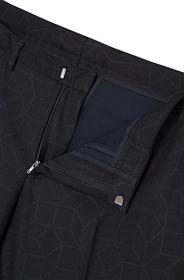 Gemusterter Extra Slim-Fit Anzug aus Schurwolle: 'Rocco/Wyatt', Dunkelblau