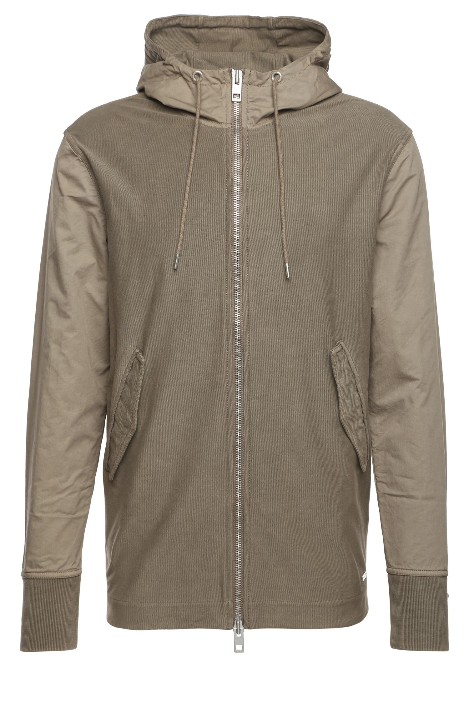 Hooded jacket in stretch cotton: 'Zoot'