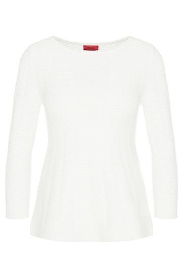 Pullover aus Baumwoll-Mix mit ausgestelltem Saum: 'Scilla', Natur