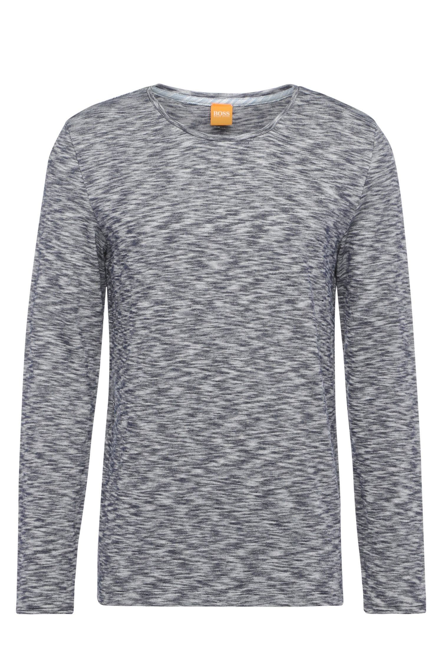 Comfort-fit long-sleeved shirt in cotton with distinctive mottling: 'Tyner'