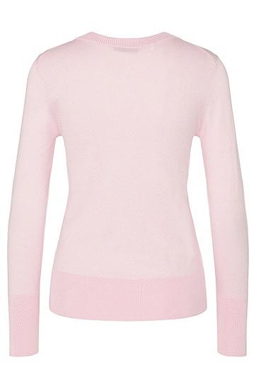 Pullover aus Seiden-Mix mit breitem Rippenbund: 'Senta', Hellrosa