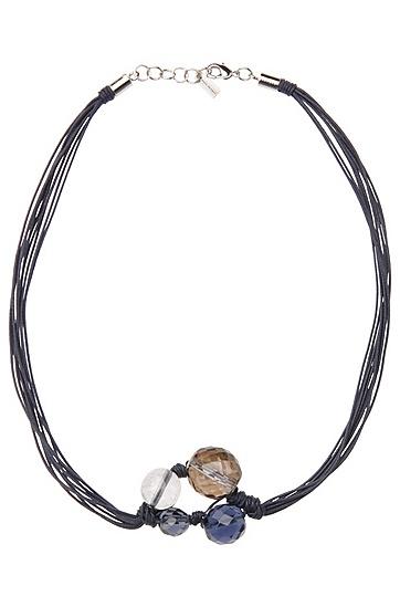Markante Halskette mit geschliffenen Glasperlen: ´Morgandy`, Dunkelblau