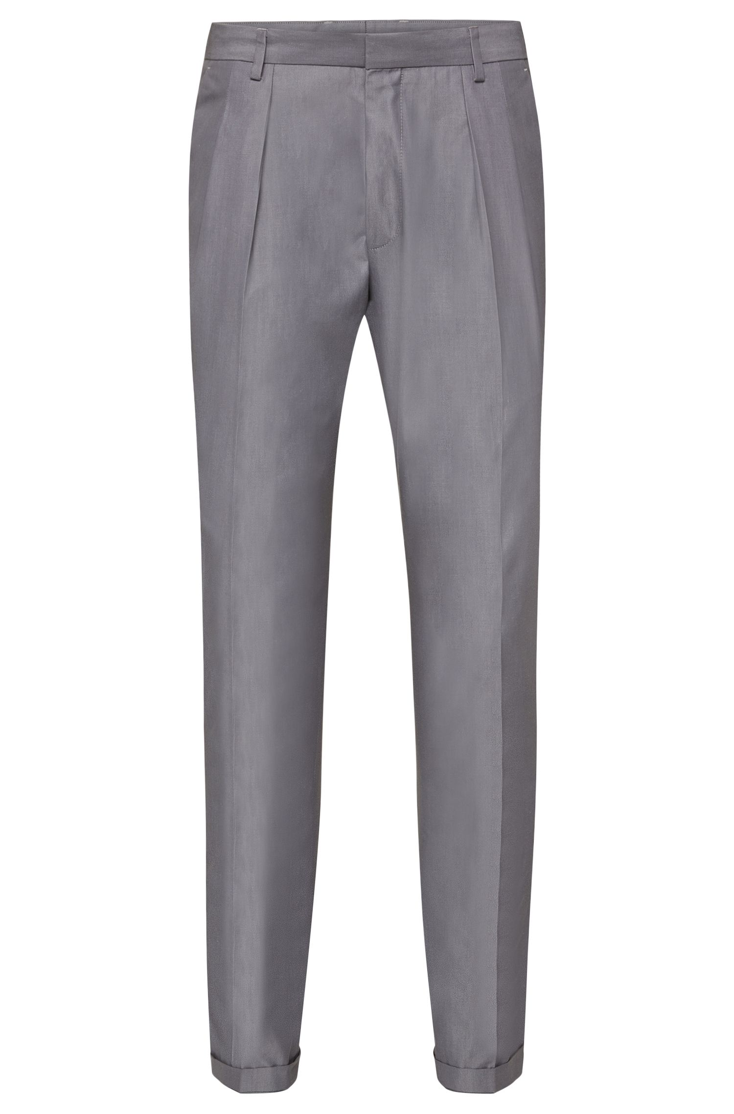 Solid-coloured extra-slim-fit trousers in cotton: 'Pat'