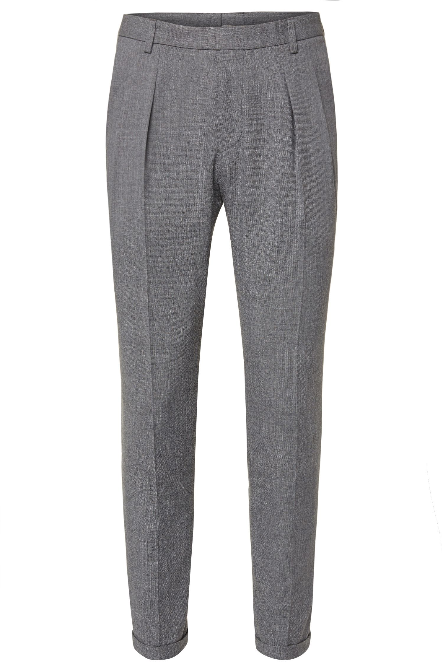 Extra-slim-fit trousers in new-wool blend: 'Pat'