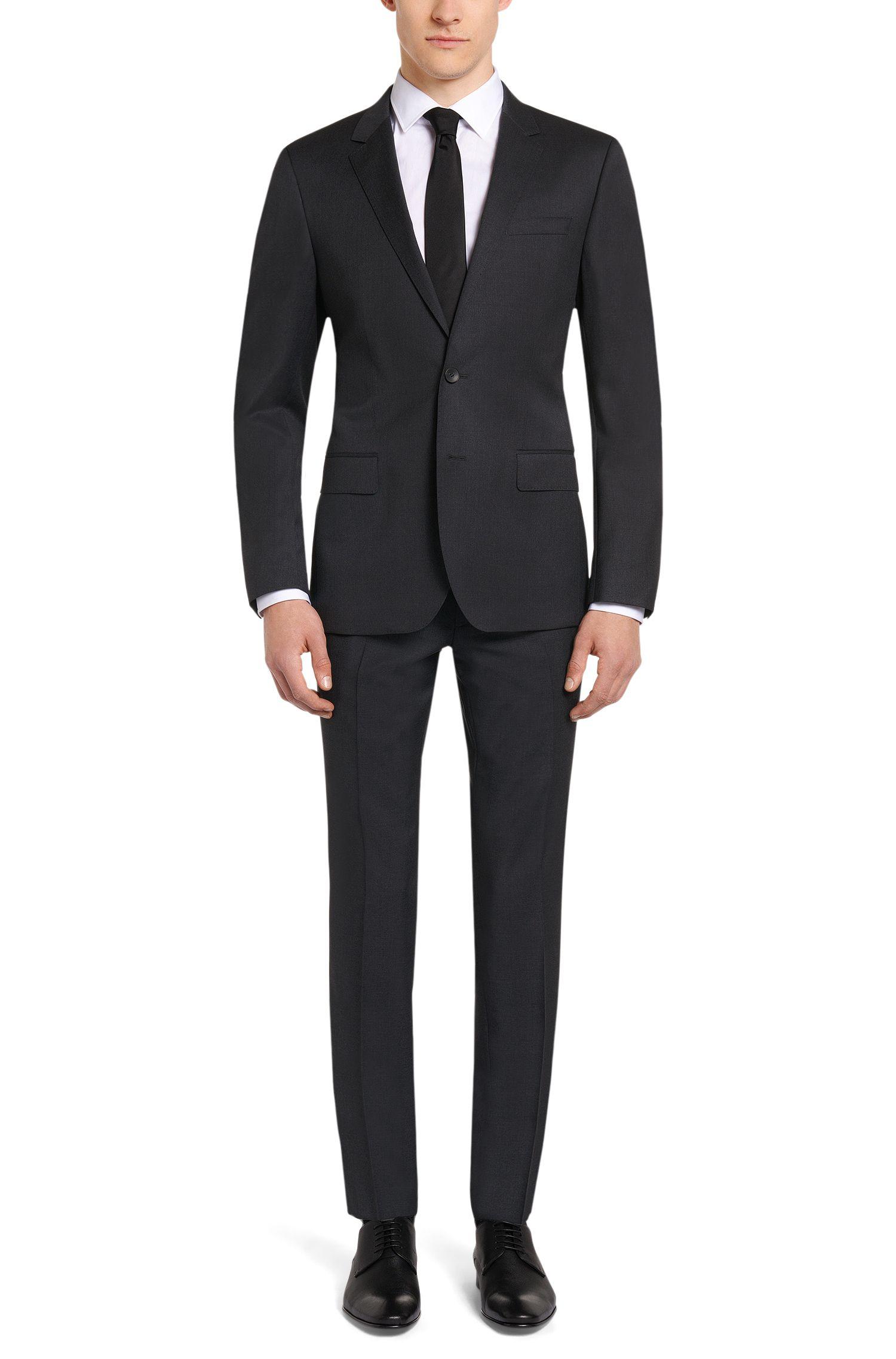 Extra slim-fit broek van scheerwol met contrastbiezen: 'Willard 1'