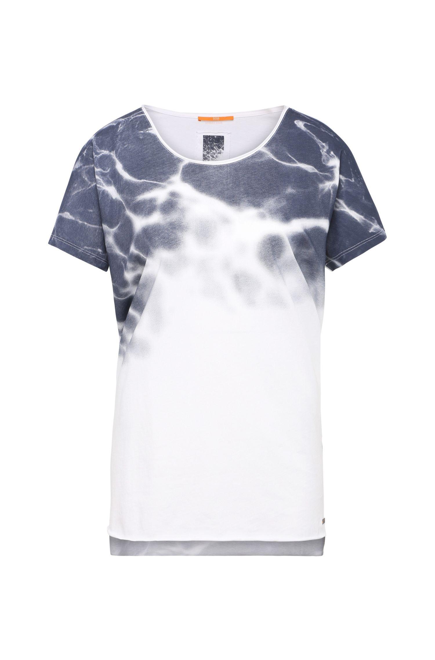 T-shirt en coton avec imprimé à effet batik: «Talmayse»