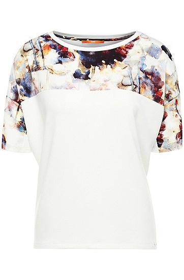 Bedrucktes Regular-Fit T-Shirt im Material-Mix: ´Tamodern`, Natur