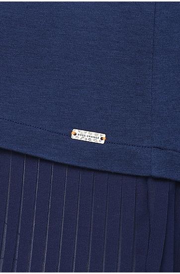 Kurzarm-Sweatshirt mit Plissee-Falten: ´Tadip`, Dunkelblau
