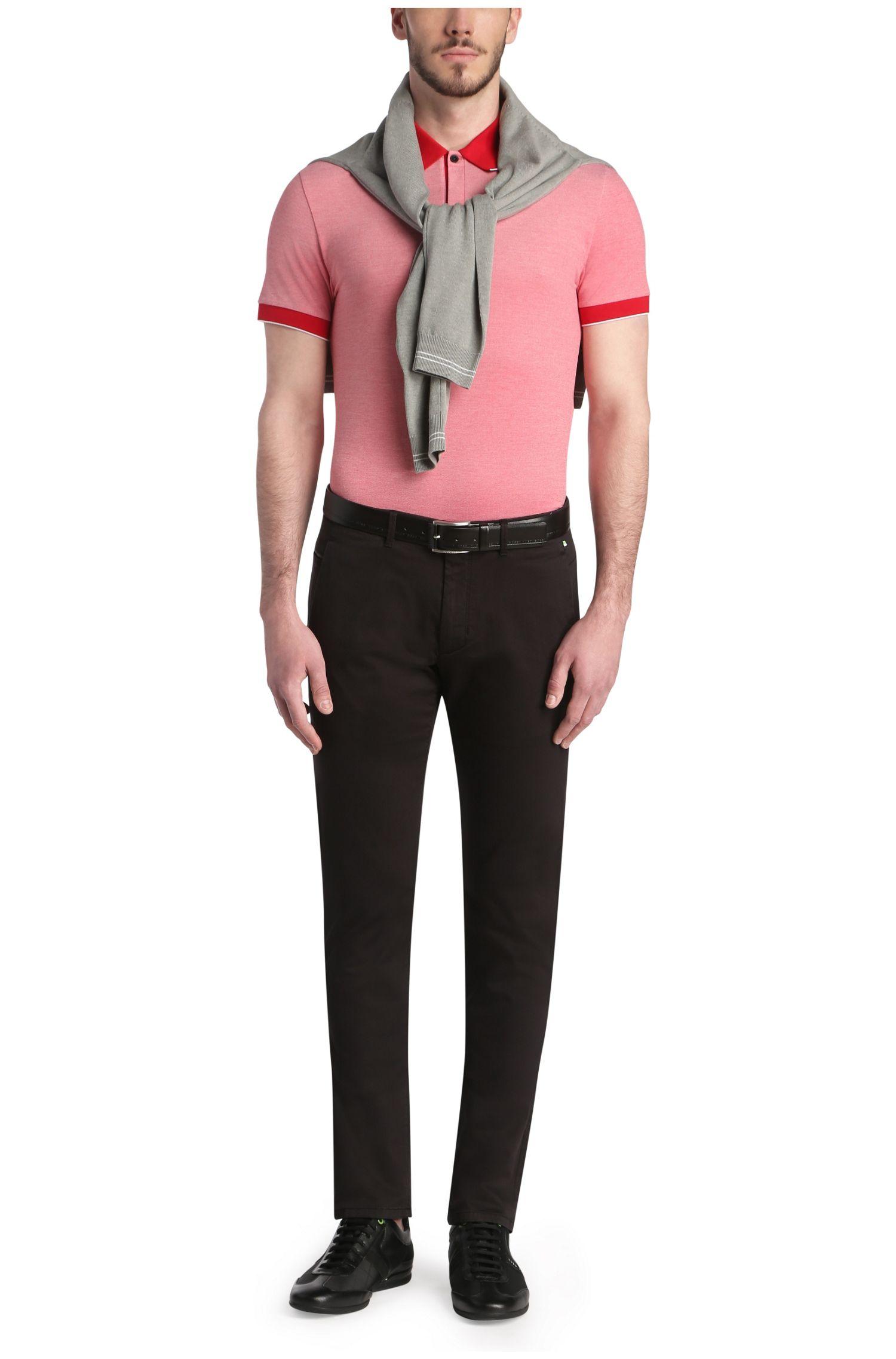 Polo Slim Fit en coton mélangé extensible: «Piro»