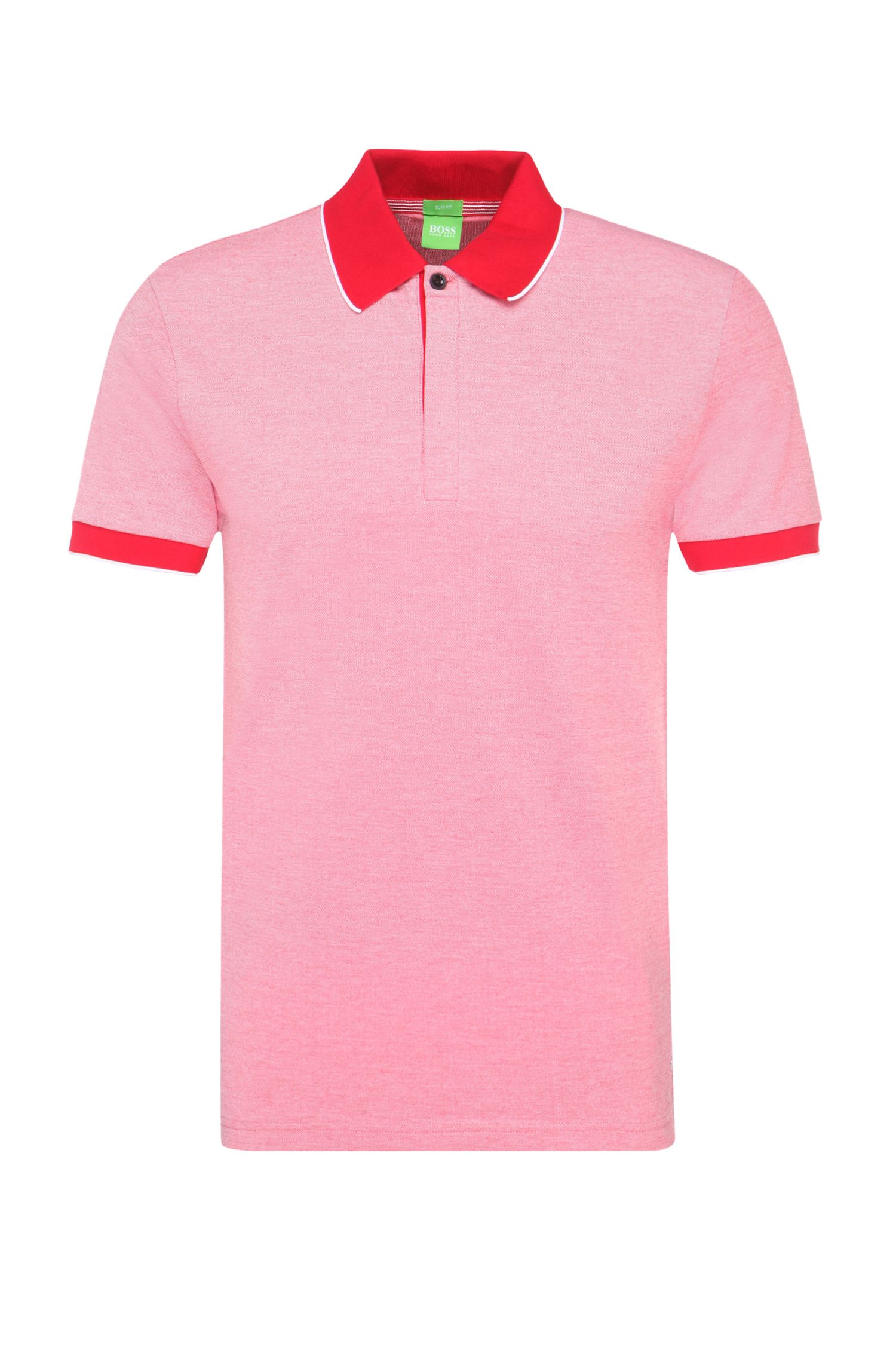 Slim-fit polo shirt in a stretchy cotton blend: 'Piro'
