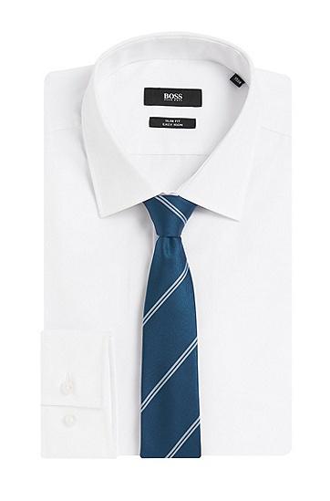 Gestreifte Krawatte aus reiner Seide: 'T-Tie 6 cm', Blau