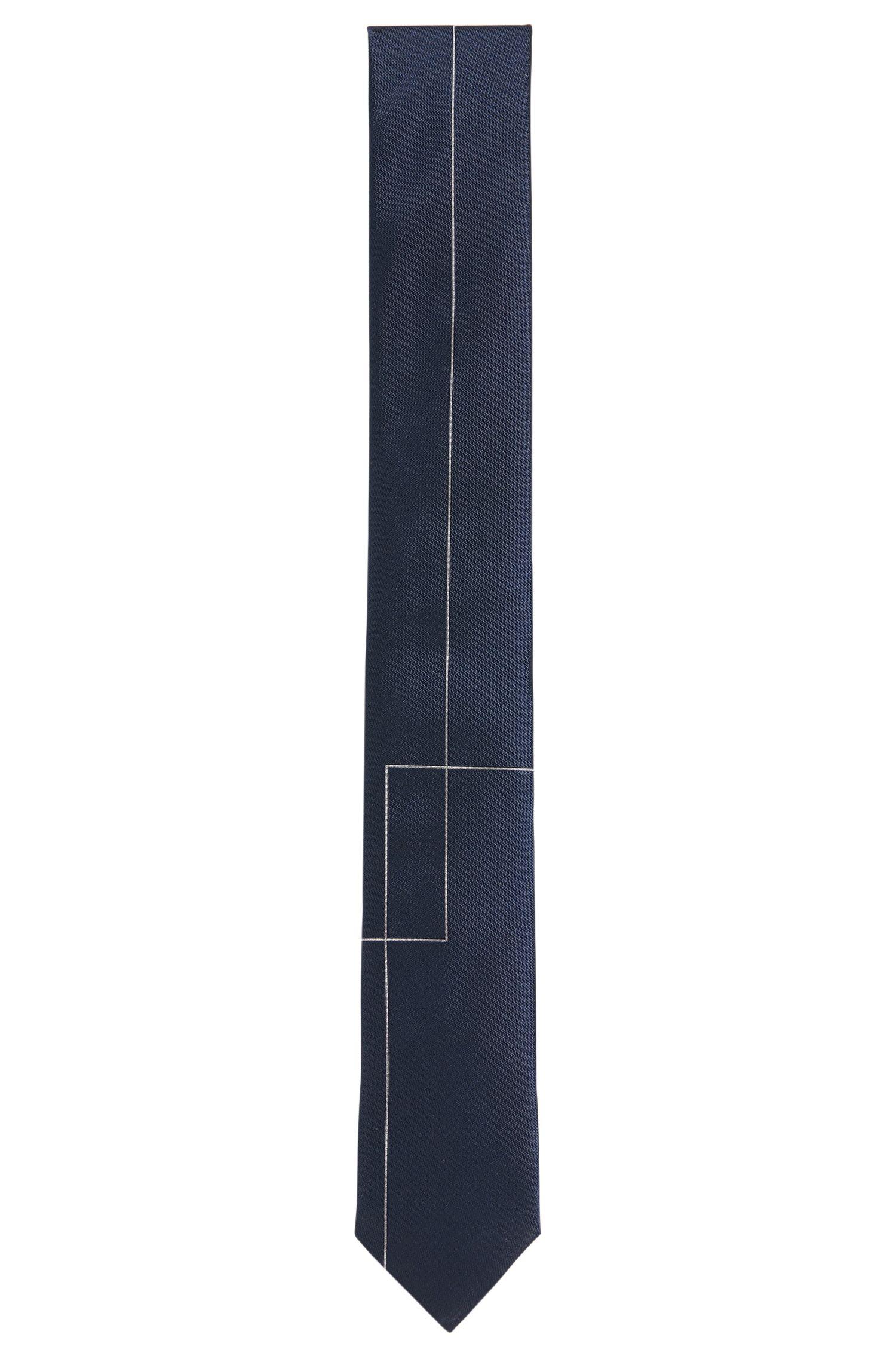 Zijden stropdas met geometrisch dessin: 'Tie 6 cm'