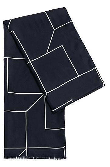 In Italien gefertigter Schal aus Seide: 'Scarf cm 180x45', Dunkelblau