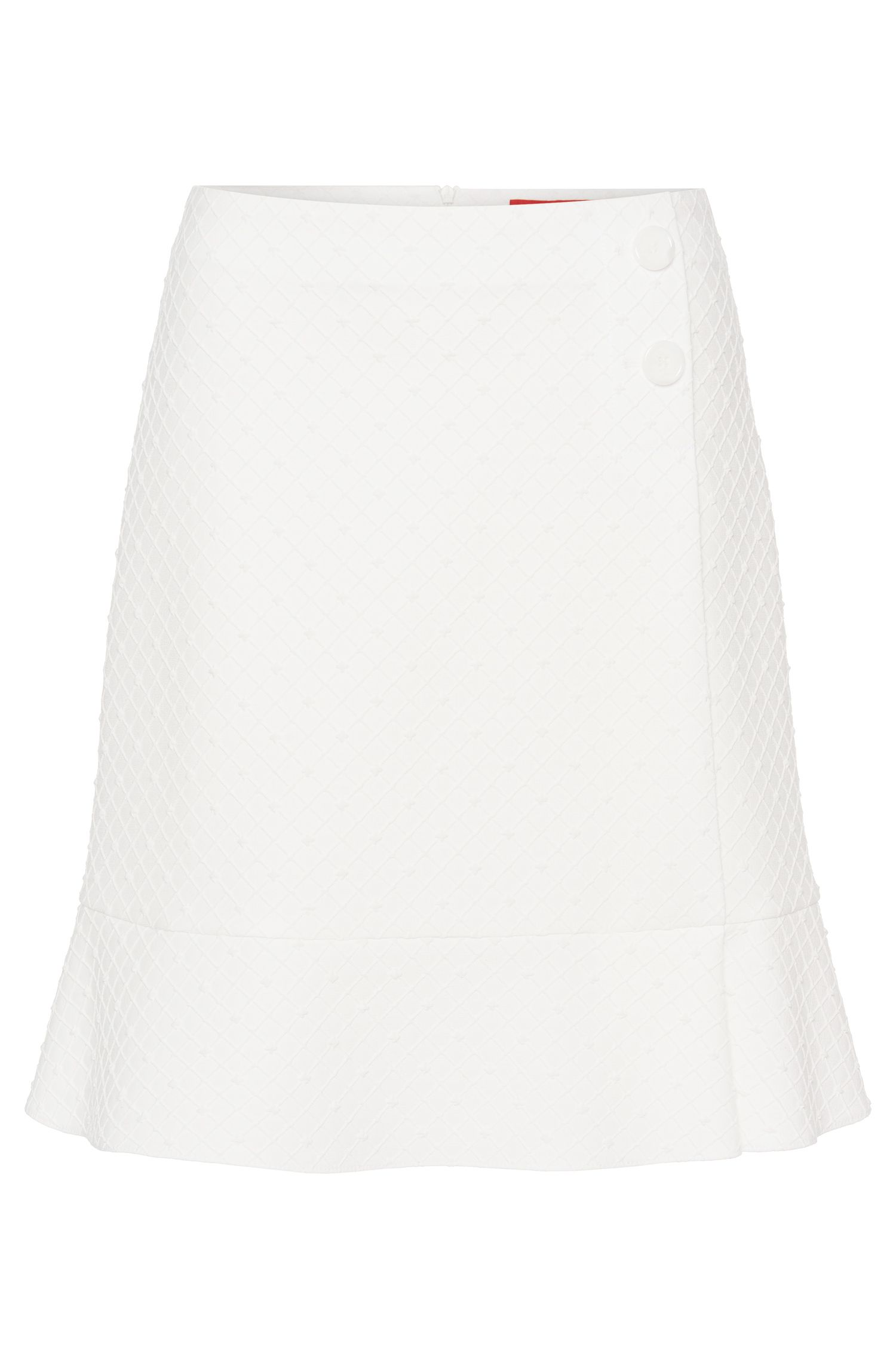 Solid-coloured skirt in textured fabric blend: 'Raina'