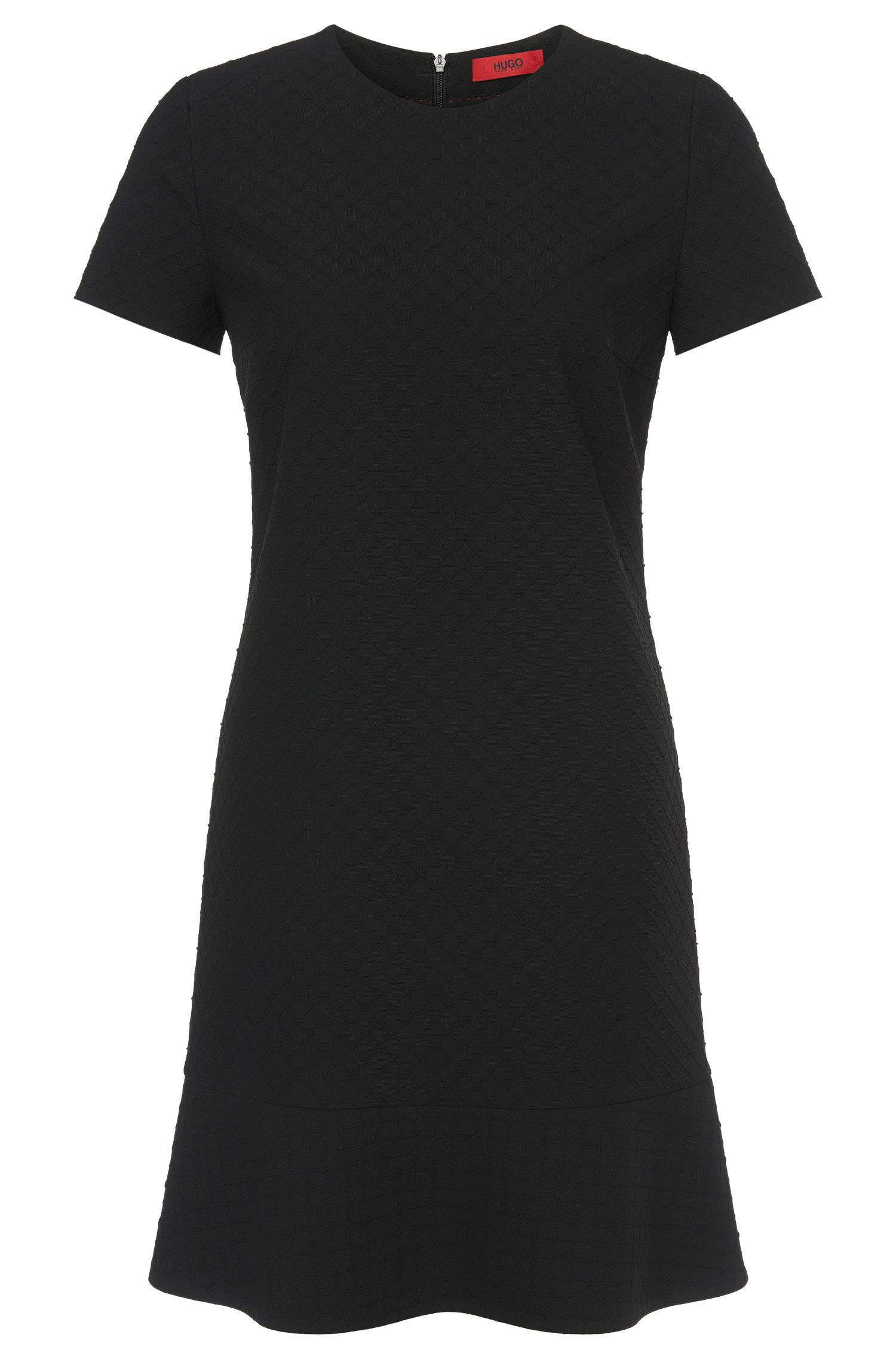 Short-sleeved dress in textured fabric: 'Kaorie'