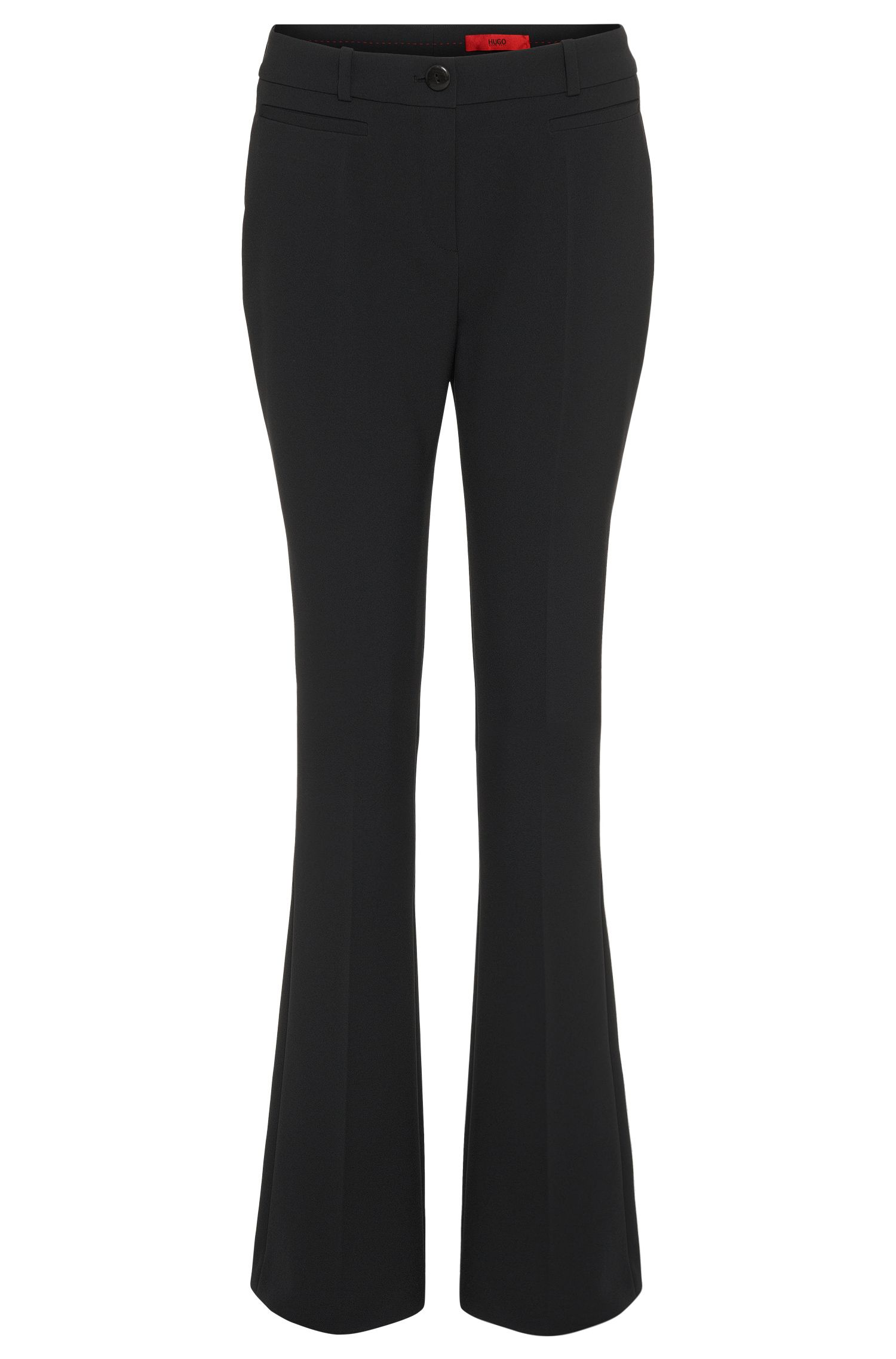 Slightly flared trousers in a solid-coloured fabric blend: 'Heddas'