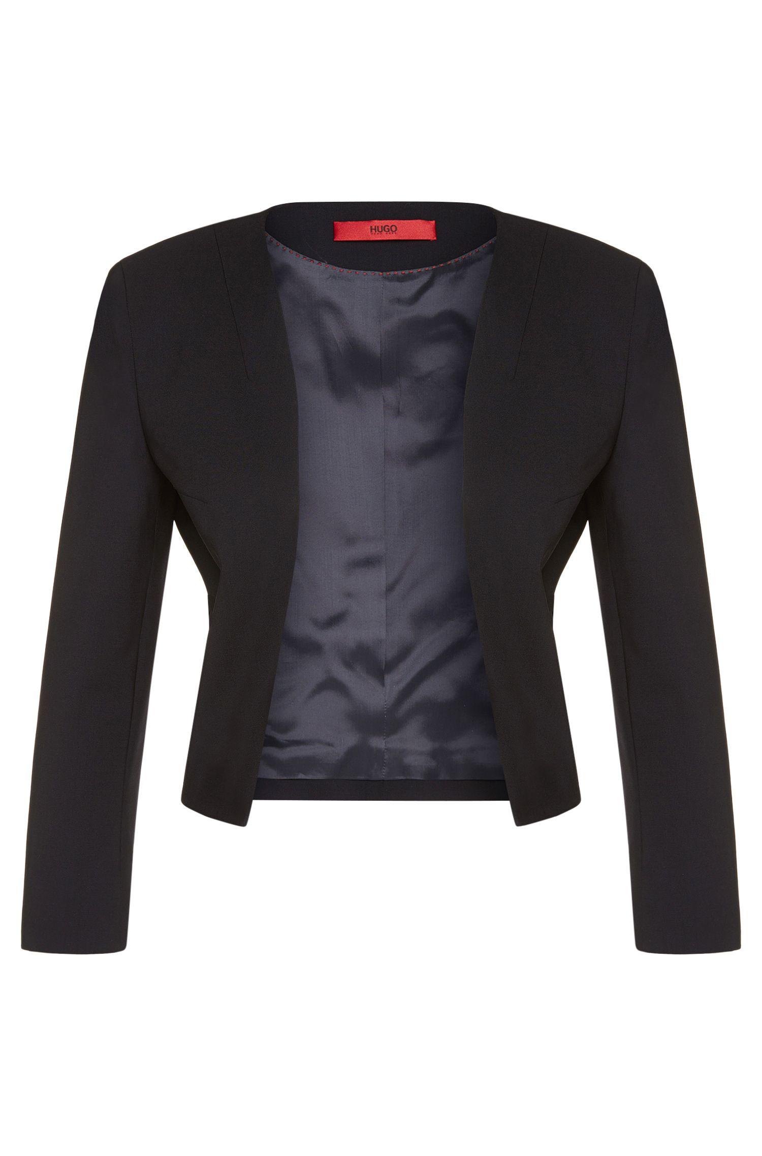 Korte blazer van scheerwol met stretch met open voorkant: 'Alides'
