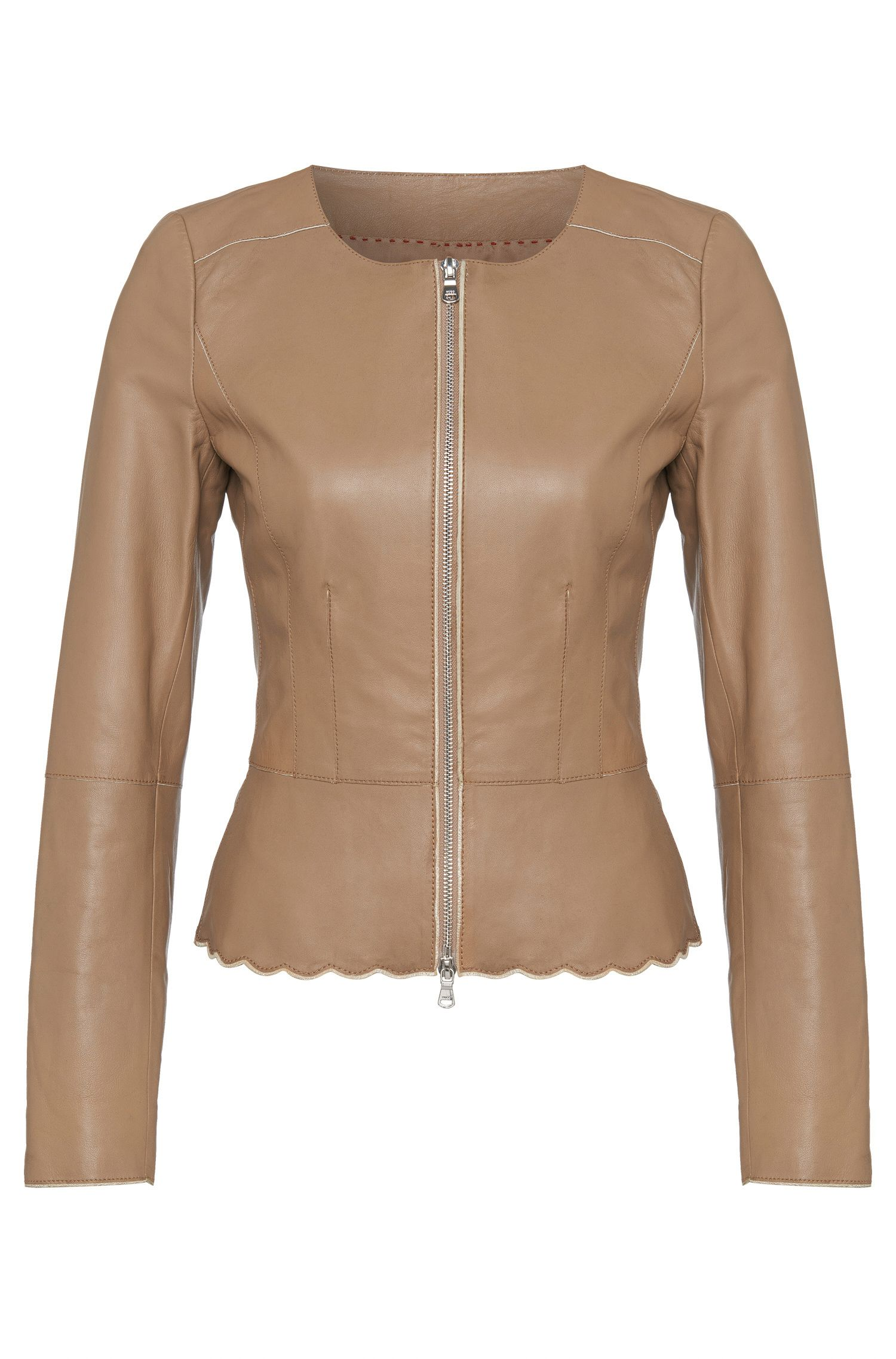Fitted short leather jacket: 'Lioba'