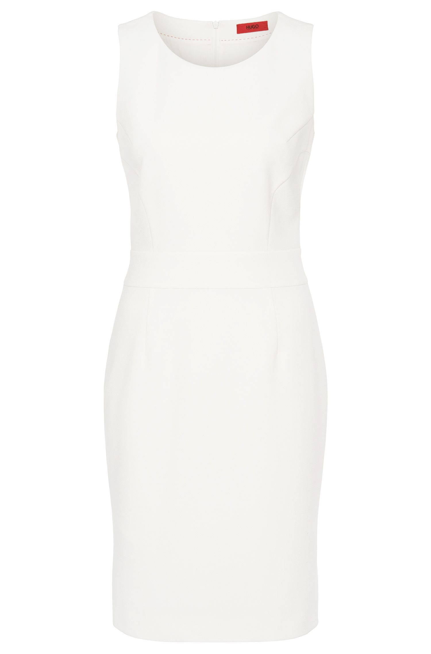 Sleeveless dress in finely textured fabric blend: 'Kikis'